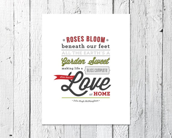 ypography Print, Art Print Verse, Inspirational Print // LOVE AT HOME // Gift Under 25