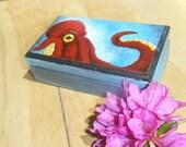 Red Octopus OOAK Wooden Trinket Box