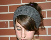 Gray Cable Knit Ear Warmer