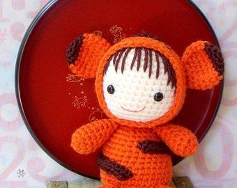 Crochet amigurumi pattern -  Zodiac Tiger  Baby - Amigurumi doll tutorial PDF