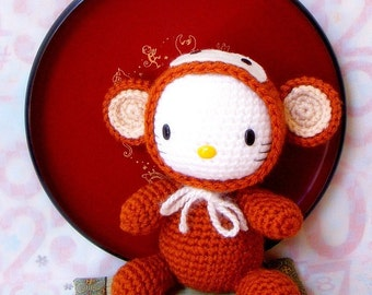 Amigurumi  Pattern - Zodiac Monkey Kitty - Crochet amigurumi doll tutorial PDF