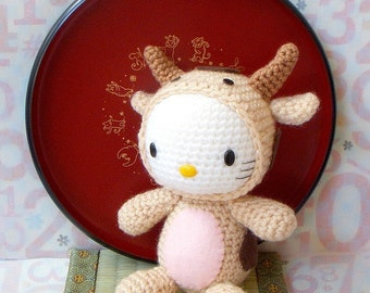 Amigurumi Pattern - Zodiac Ox Kitty - Crocheted Amigurumi toy doll tutorial PDF