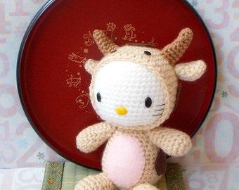 Amigurumi Pattern - Zodiac Ox Kitty - Crocheted Amigurumi toy doll tutorial PDF