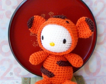 Amigurumi Pattern - Zodiac Tiger Kitty - Crochet amigurumi doll tutorial PDF