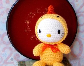Crochet amigurumi Pattern - Zodiac Rooster Kitty - Crochet toy doll tutorial PDF