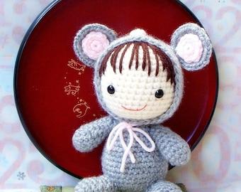 Amigurumi Pattern - Zodiac Rat Baby - Crochet amigurumi doll tutorial PDF
