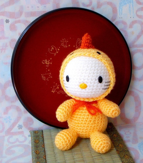 Crochet amigurumi Pattern - Zodiac Rooster Kitty - Crochet toy doll tutorial PDF