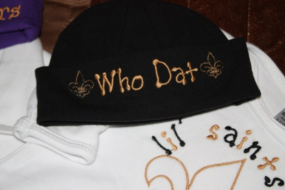 Newborn Gown and Beanie-New Orleans Saints or LSU- Boy or Girl