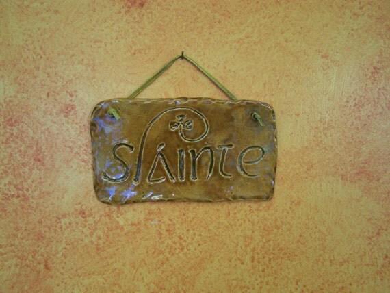 Irish Slainte Plaque   Cheers in Gaelic