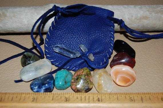 10 Chakra Blue Leather Medicine Bag