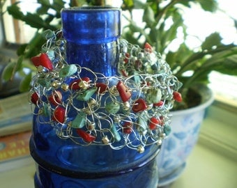 Coral and Turquoise one-of-kind crocheted wire bracelet.