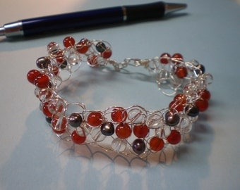 Carnelian and Quartz and Pearl Sterling Silver crocheted wire beaded bracelet.