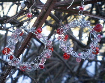 Sweet heart Crocheted wire hoop earrings