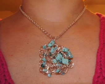 Turquoise and Silver Crocheted Pendant
