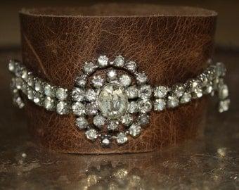 Repurposed Rhinestone Leather bracelet