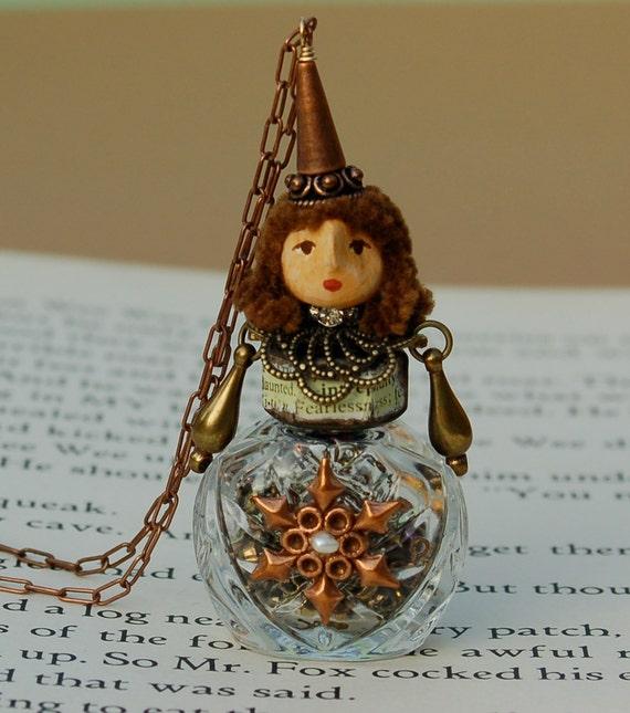 "Lauren - A Miniature 2 3/4"" Miniature Perfume Bottle Doll and Necklace"