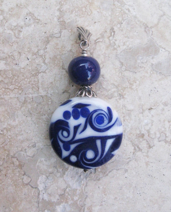 Lapis Swirl Pendant Lampwork with Sterling Silver