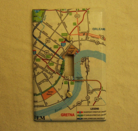 Map covered light switch plate, New Orleans streetcar route map.