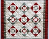 Miniature Red Green and White Quilt