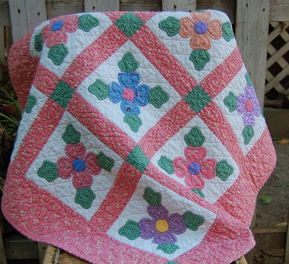 Bright Hand Applique Hand Quilted Baby Quilt