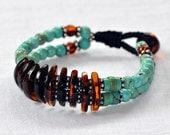 Mexican dark brown Amber bracelet Turquoise Sterling silver - macrame - Tribal bracelet - unisex