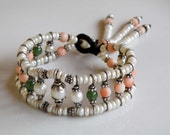 Japanese pink Coral green Jade and Pearl gemstone cuff bracelet - Sterling Silver - wire wrapped  - macrame - Timeless jewelry
