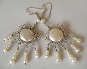 Elegant  Pearl earrings Sterling Silver wire wrapped - white fresh water pearl  - dangly - Tribal earrings - Ethnic jewelry - summer fashion