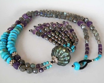 Labradorite gemstone necklace - authentic stone - Turquoise Amethyst black Pearls Sterling silver - tasseled  - macrame - Tribal jewelry
