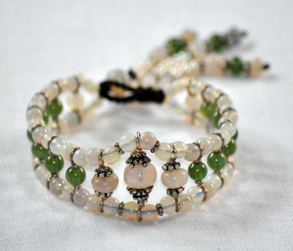 Opal n Jade cuff bracelet with Sterling silver - wire wrapped - macrame - Tribal jewelry - ooak