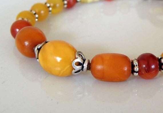 Amber Silver bracelet - authentic yellow Baltic Amber orange Carnelian - macrame - Sterling Silver - Tribal jewelry - ooak