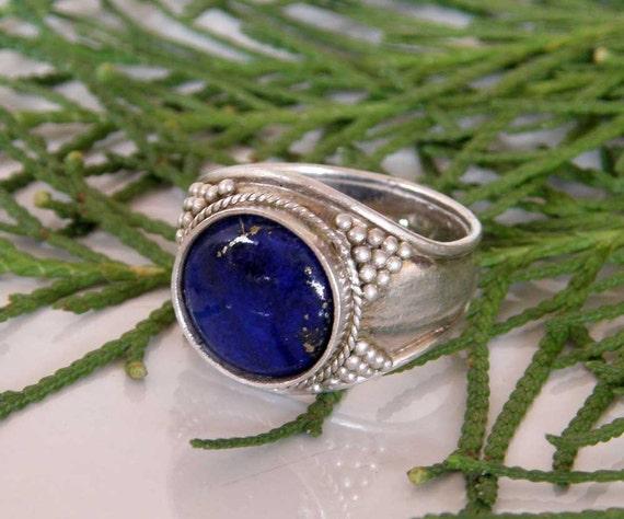 Lapis Lazuli Sterling Silver Ring - deep blue Afghani Lapis stone - Tribal jewelry - unisex - ooak