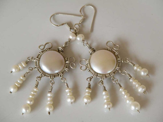 Elegant  Pearl earrings Sterling Silver wire wrapped - white fresh water pearl  - dangly - Tribal earrings - Ethnic jewelry - summer fashion