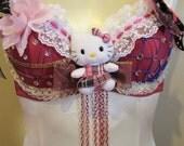 Pretty Pink Custom made Hello Kitty inspired Dancewear Bra Top