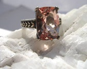 Cushion Cut Morganite Ring set in antiqued patterned sterling ring