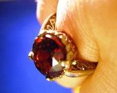 Big Deep Red Rhodolite Garnet Ring Sterling filligree basket handmade custom hessonite rose cut size 4 5 6 7 8 9 10 half sizes fine jewelry