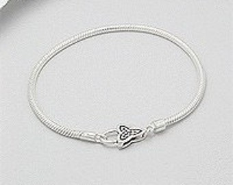 Celtic Knot Solid Sterling Bracelet European Style charm bracelet for large hole beads 8 8.5 inch size unisex mens fine jewelry snake 3mm
