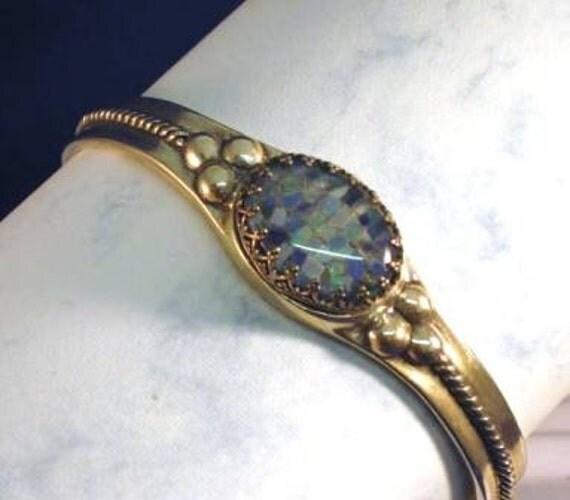 SALE Today 10% Off /Mosaic Opal Triplet sterling cuff bracelet