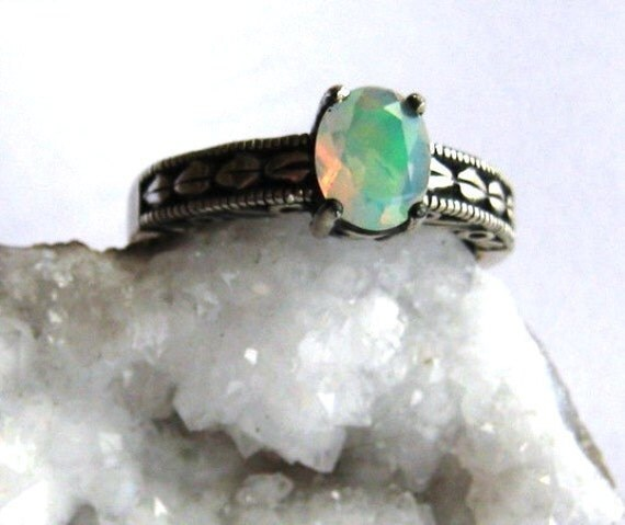 Ethiopian Faceted Opal Fiery White blue green red Jelly Sterling Silver Handmade size 4 5 6 7 8 9 10 11 half fine jewelry patterned band