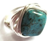 Wire Wrap Ring Turquoise Stone Fashion Jewelry