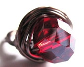 Ruby Red Glass Wire Wrapped Ring Antiqued Brass Fashion Jewelry Any Size