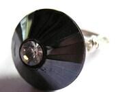 Art Deco Wire Wrap Ring Black Glass Fashion Jewelry