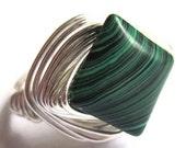 Green Malachite Wire Wrapped Ring Stone Fashion Jewelry