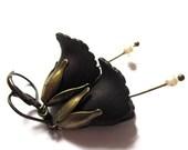 Vintage Style Earrings Black Flower Fashion Jewelry