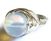 Opalite Glass Wire Wrapped Ring Boho Fashion Jewelry