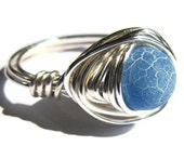 Blue Fire Agate Ring Wire Wrapped Stone Fashion Jewelry