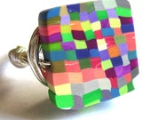 Wire Wrap Ring Rainbow Square Fashion Jewelry