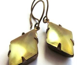 Claw Set Earrings Lemon Yellow Glass Diamond Fashion Jewelry