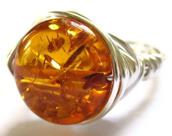 Amber Wire Wrapped Ring Orange Fashion Jewelry
