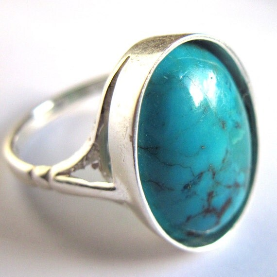 Sterling Silver Ring Turquoise Gemstone Cabochon 14 x 10 Unisex Fashion Jewelry