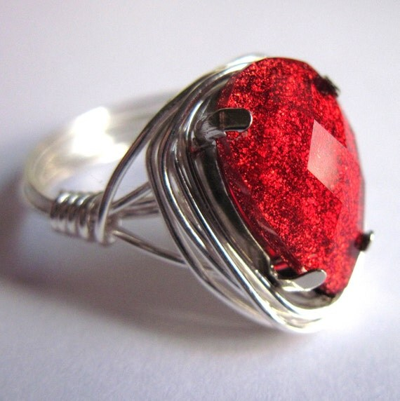 Wire Wrap Ring Blood Red Goth Vampire Teardrop Romantic Women Fashion Jewelry Any Size